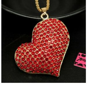 Pretty Red Heart Necklace Sweater Chain